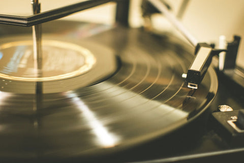 Vinyl record on a turntable.