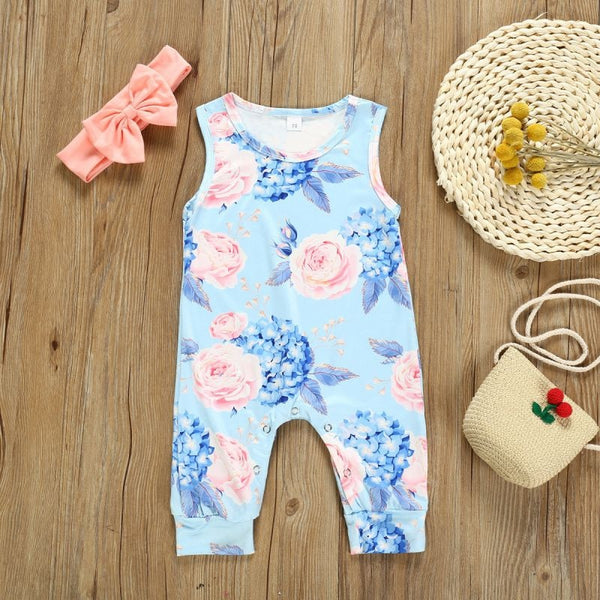 Toddler Kids Baby Girl Cotton Floral Romper Jumpsuit+Bow Hair Band Clothes Sets