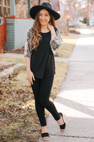 Snake Skin Wide Sleeve Top