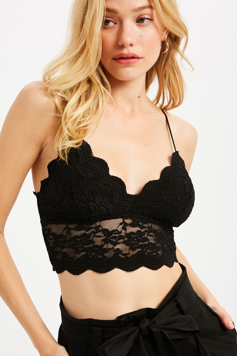 Sheer Bottom & Scallop Top Bralette