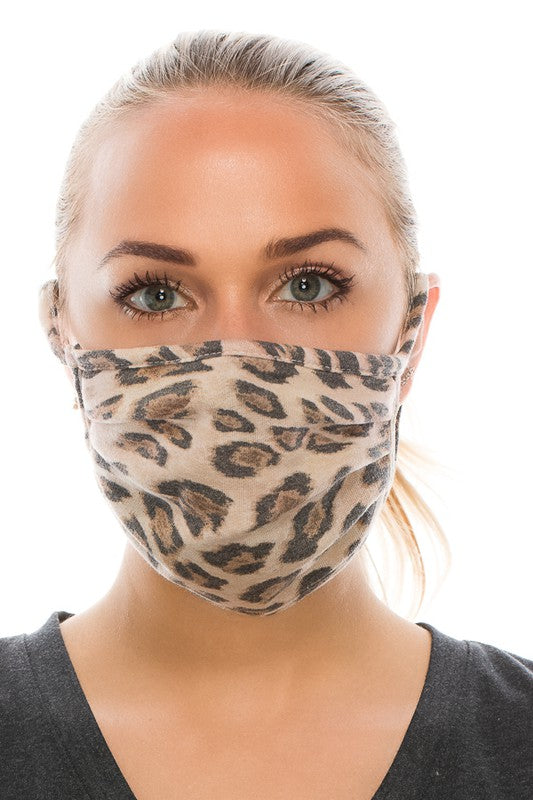 Faded Leopard Print Face Mask