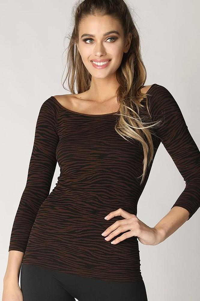 3/4 Sleeve Zebra Basic Top - Glitz & Ears