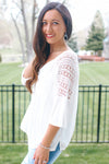 Crochet Sleeves & Back V-Neck Top