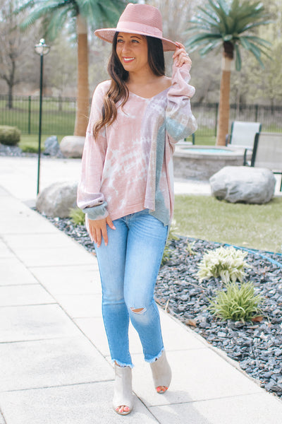 Ombre Tie Dye Shimmer Stitch Thin Sweater