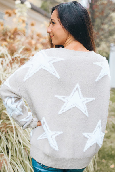 Cut Out Two Tone Star Sweater (Sale)