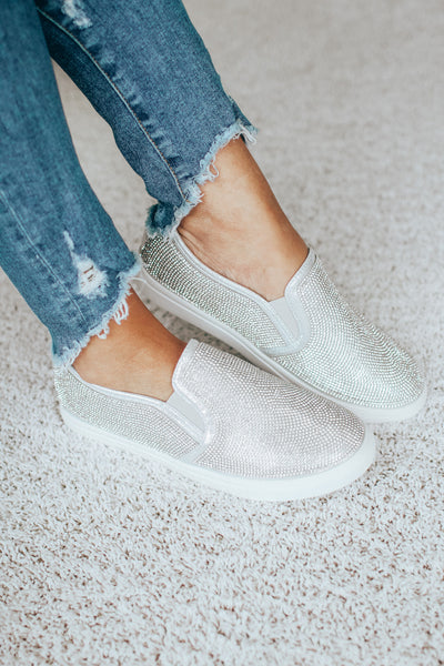All Rhinestone Slip On Sneaker