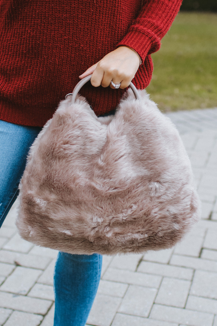 All Faux Fur Short Handle Purse