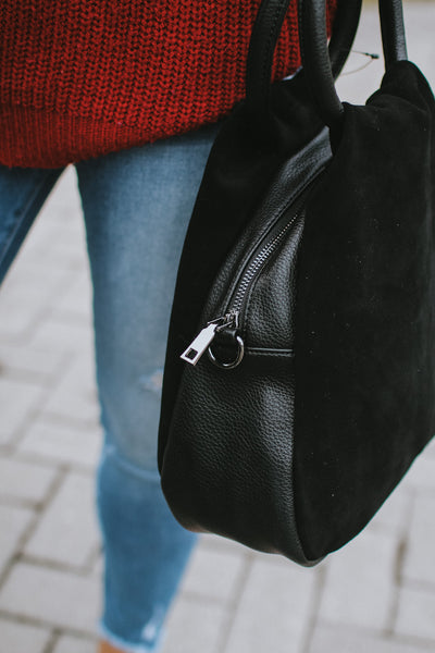 Suede Double Ring Handle Purse