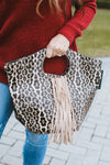 Fringe Middle Leopard Round Handle Purse