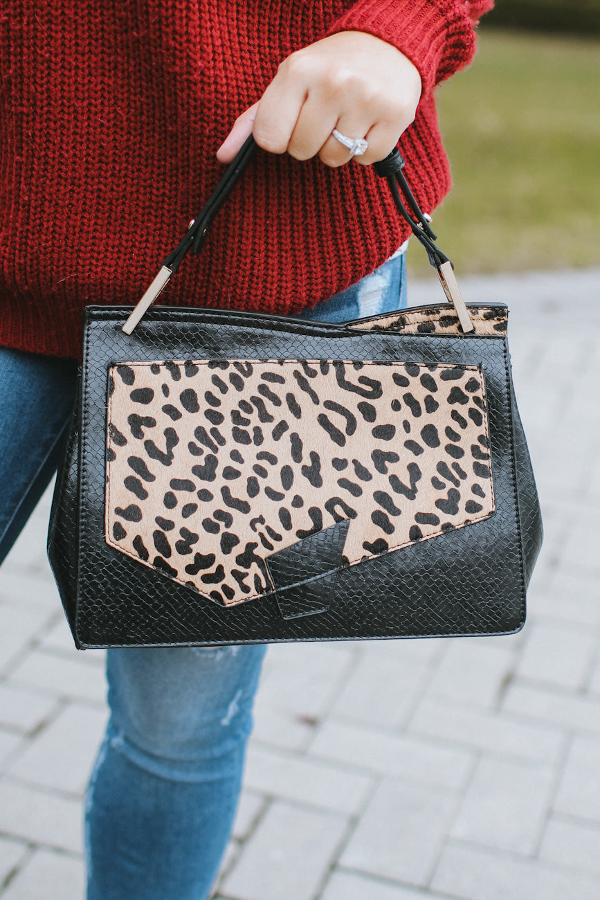 Animal Print Slant Flap Purse