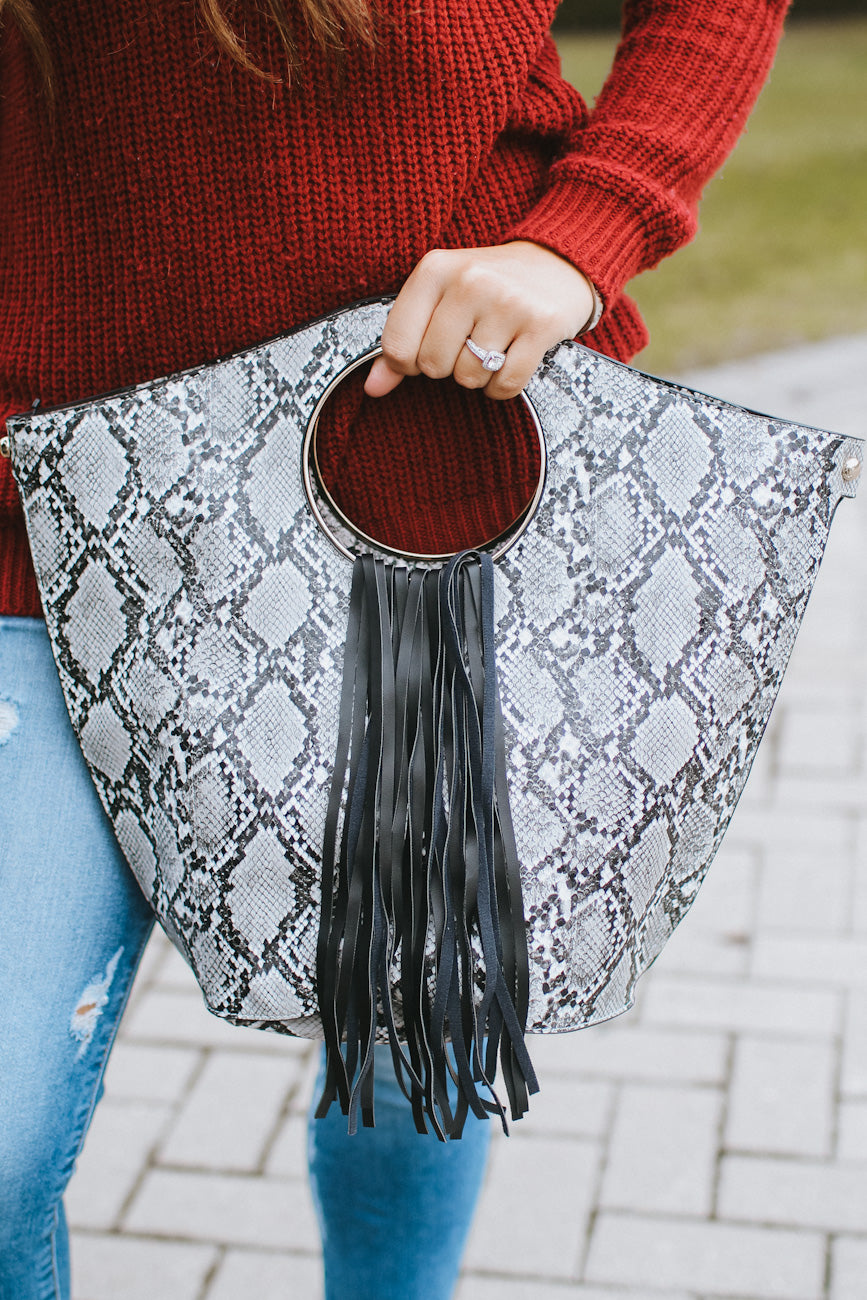Fringe Middle Snake Round Handle Purse