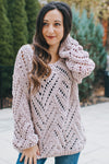 Scoop Neck Criss Cross Open Knit Sweater