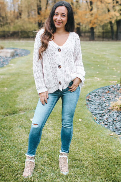 Button Front Braid Knit Sweater