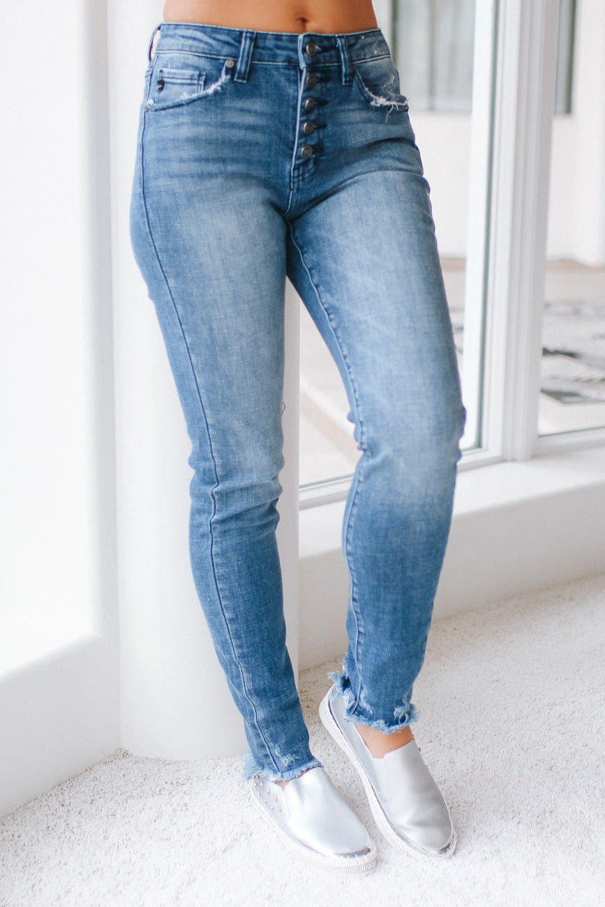 Button Fly Fray Ankle Skinny Jean