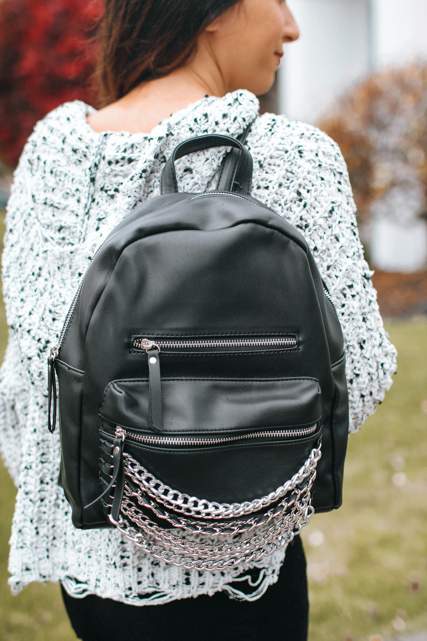 Layered Chain Pocket Backpack