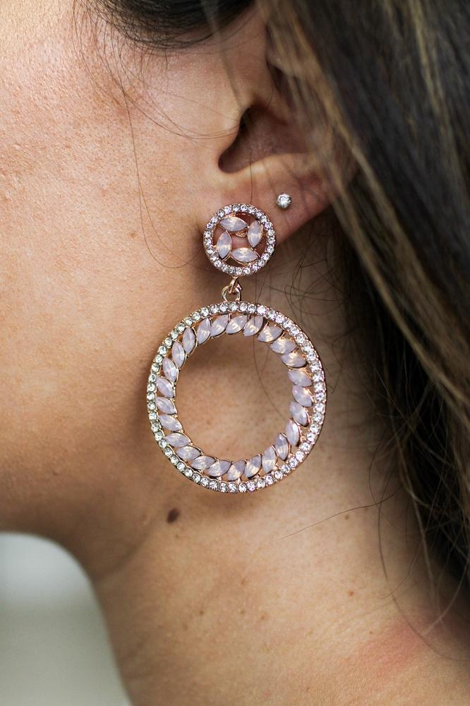 Slanted Almond Circle Rhinestone Earring