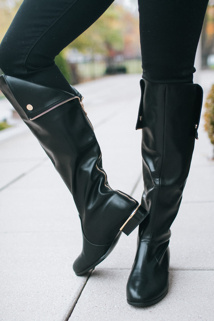 Fold Top Gold Zipper Back Boot (Sale)