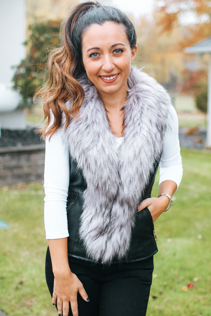 Faux Fur Trim Vest with Gold Hardware