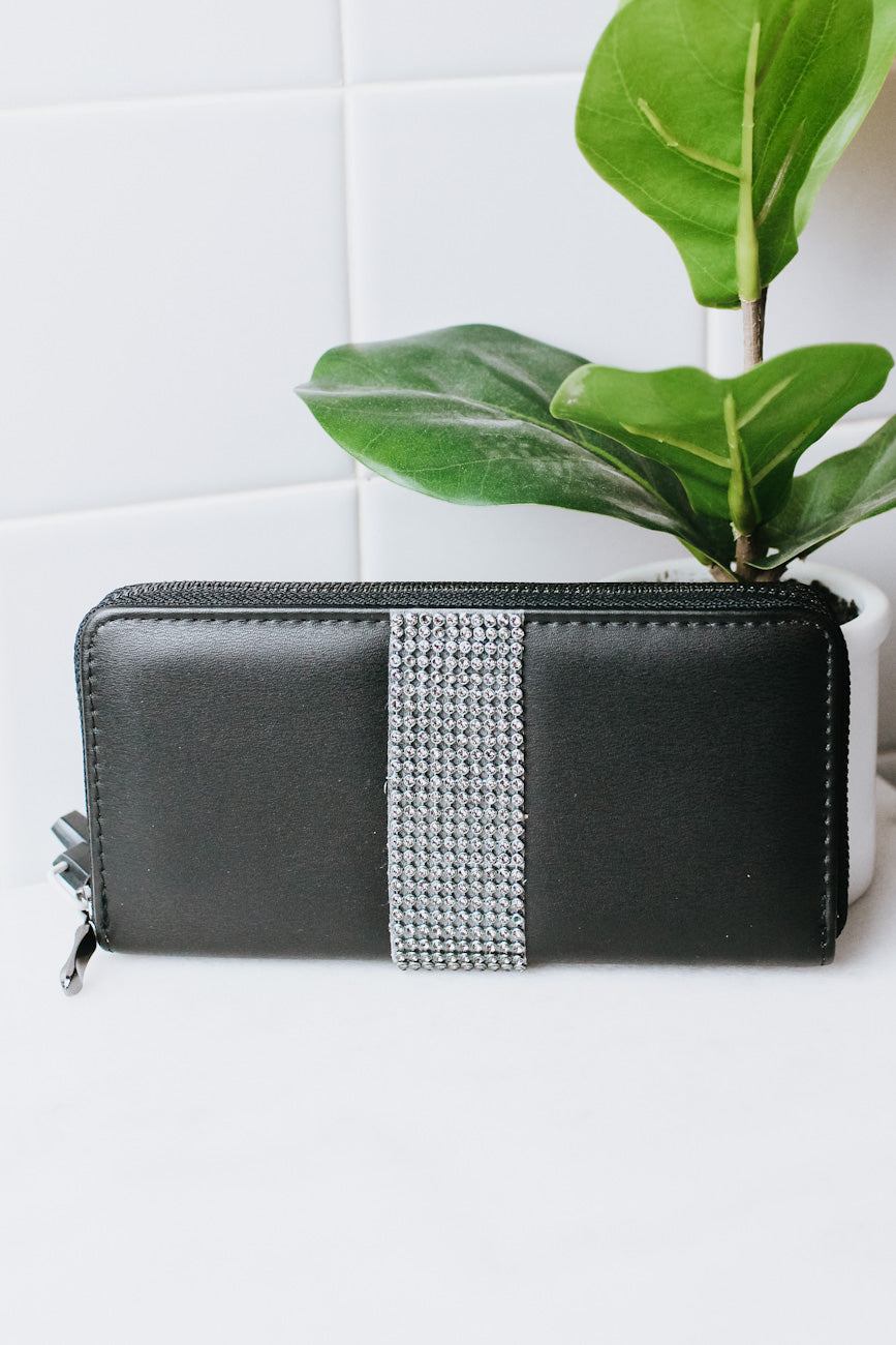 Rhinestone Strip Middle Zip Around Wallet