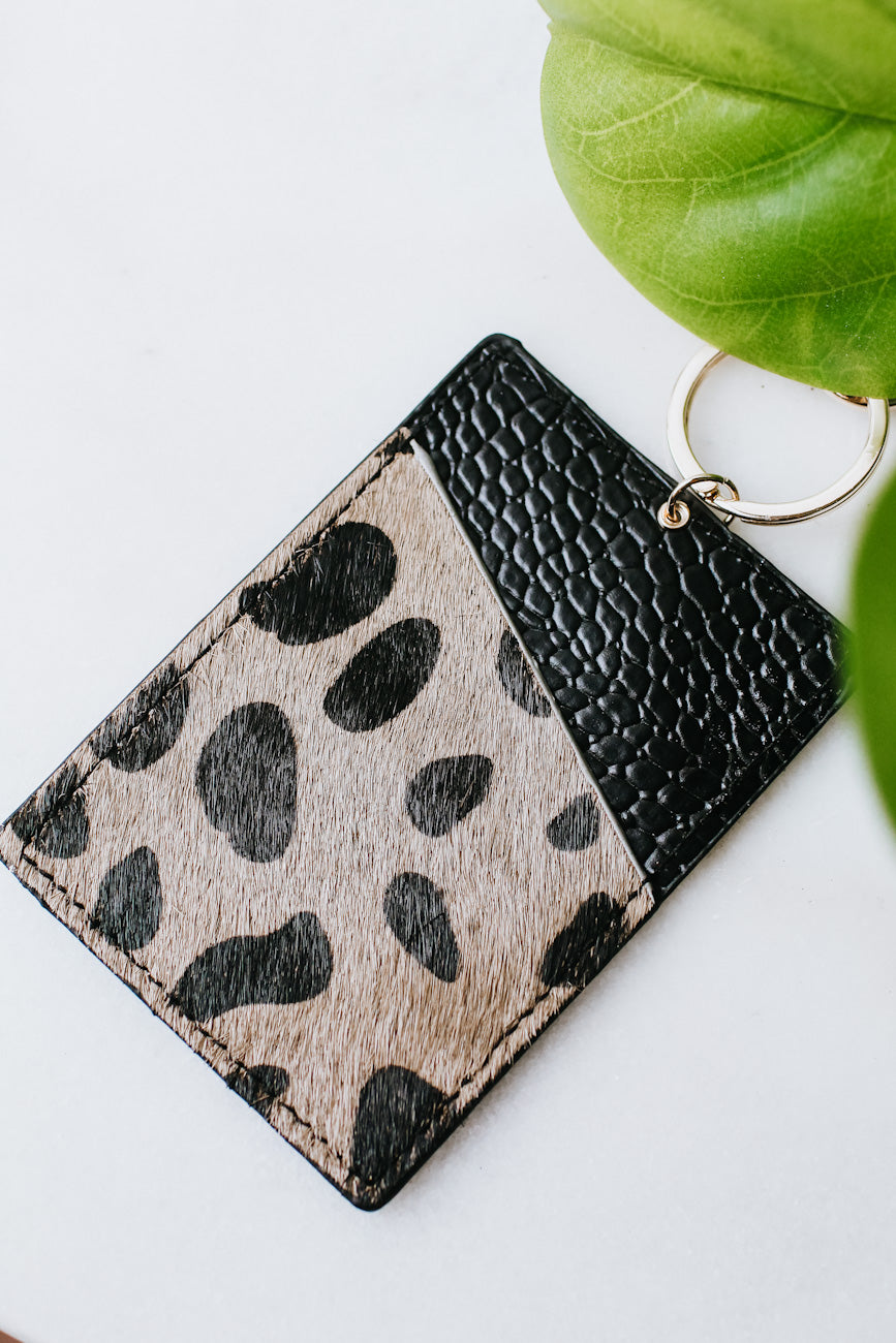 Cow Print & Leather Card Holder