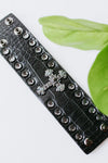 Thick Leather Cross Middle Snap Bracelet