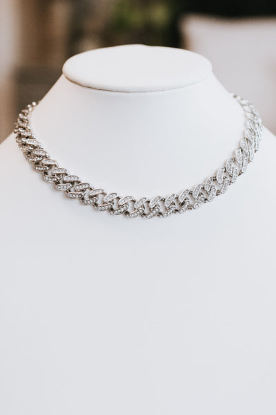 All Rhinestone Link Necklace