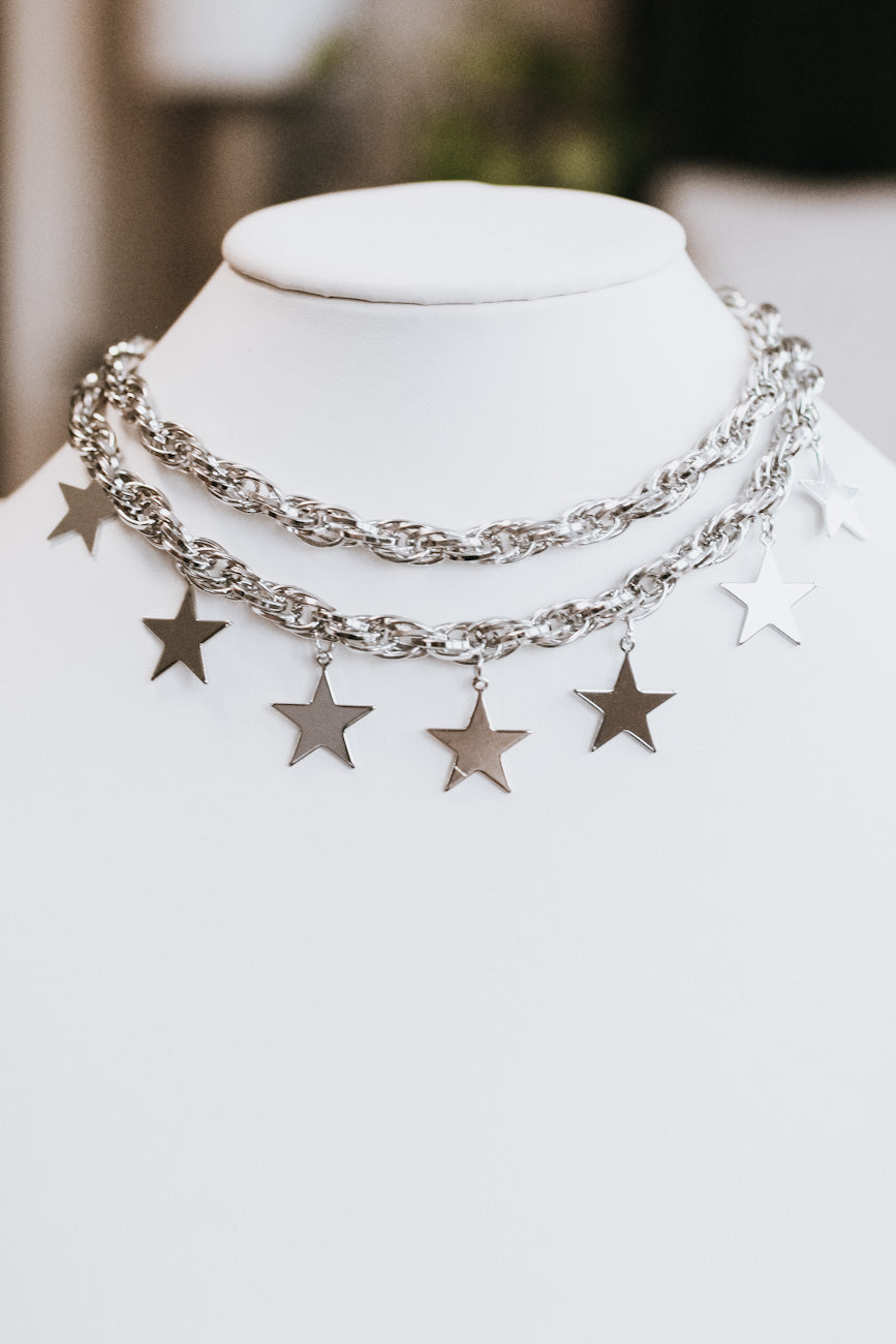 Thick Two Chain & Metal Stars Necklace
