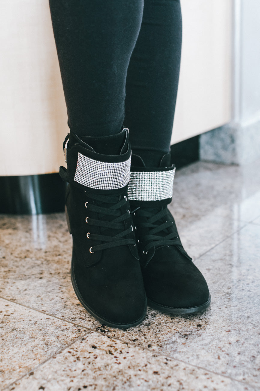 Rhinestone Band Lace Up Combat Boot