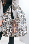 Large Leopard Hobo Bag with Tassel