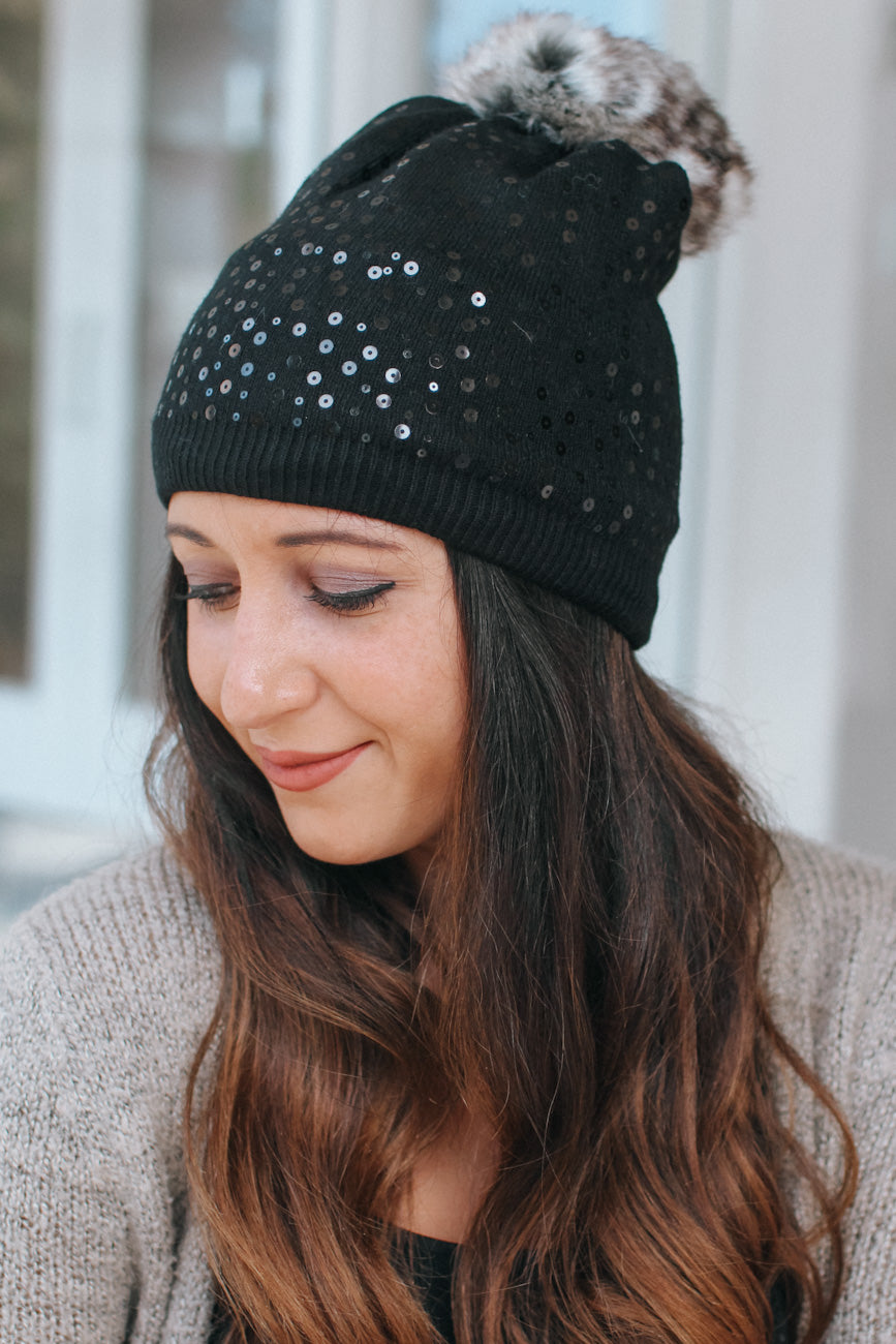 All Sequin & Fur Pompom Beanie