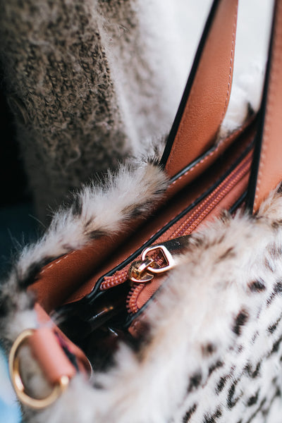 All Fur Leopard Two Handle Purse