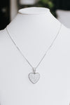 Large Pave Heart Metal Trim Necklace