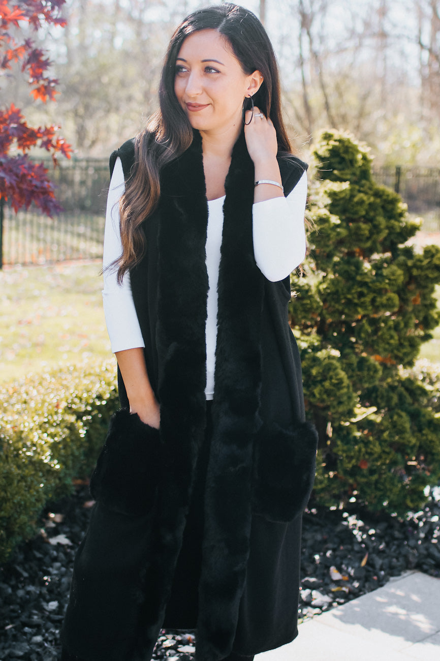 Long Fur Trim & Pockets Vest