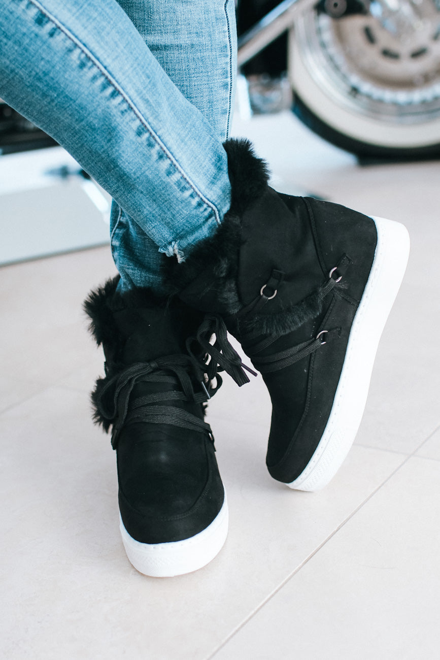 High Top Fur Trim Wedge Sneaker