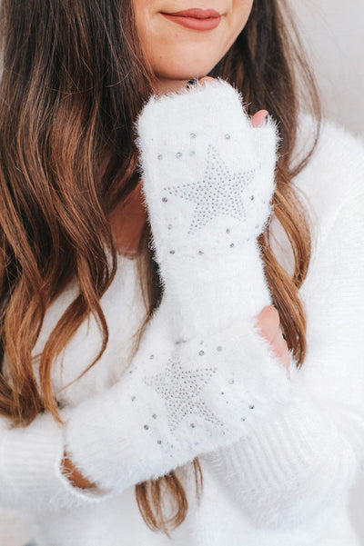 Fuzzy Rhinestone Star Fingerless Glove