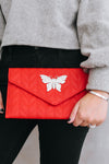 Chevron Butterfly Flap Clutch