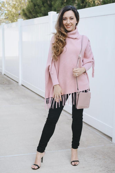 Grommet Lace Up Fringe Poncho-Glitz & Ears Boutique