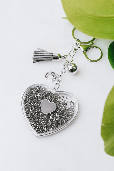 Metal Outline Loose Crystal Heart Keychain