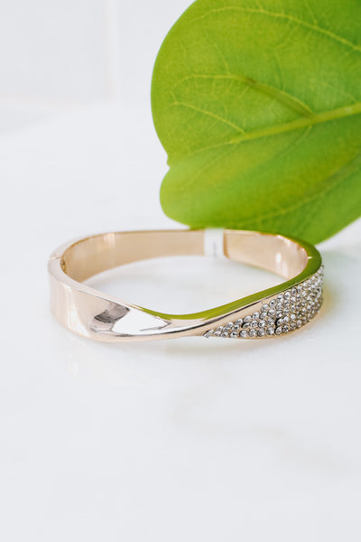 Metal Side Rhinestone Side X Bangle
