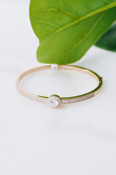 Pave Row Circle & Ball Trim Bangle
