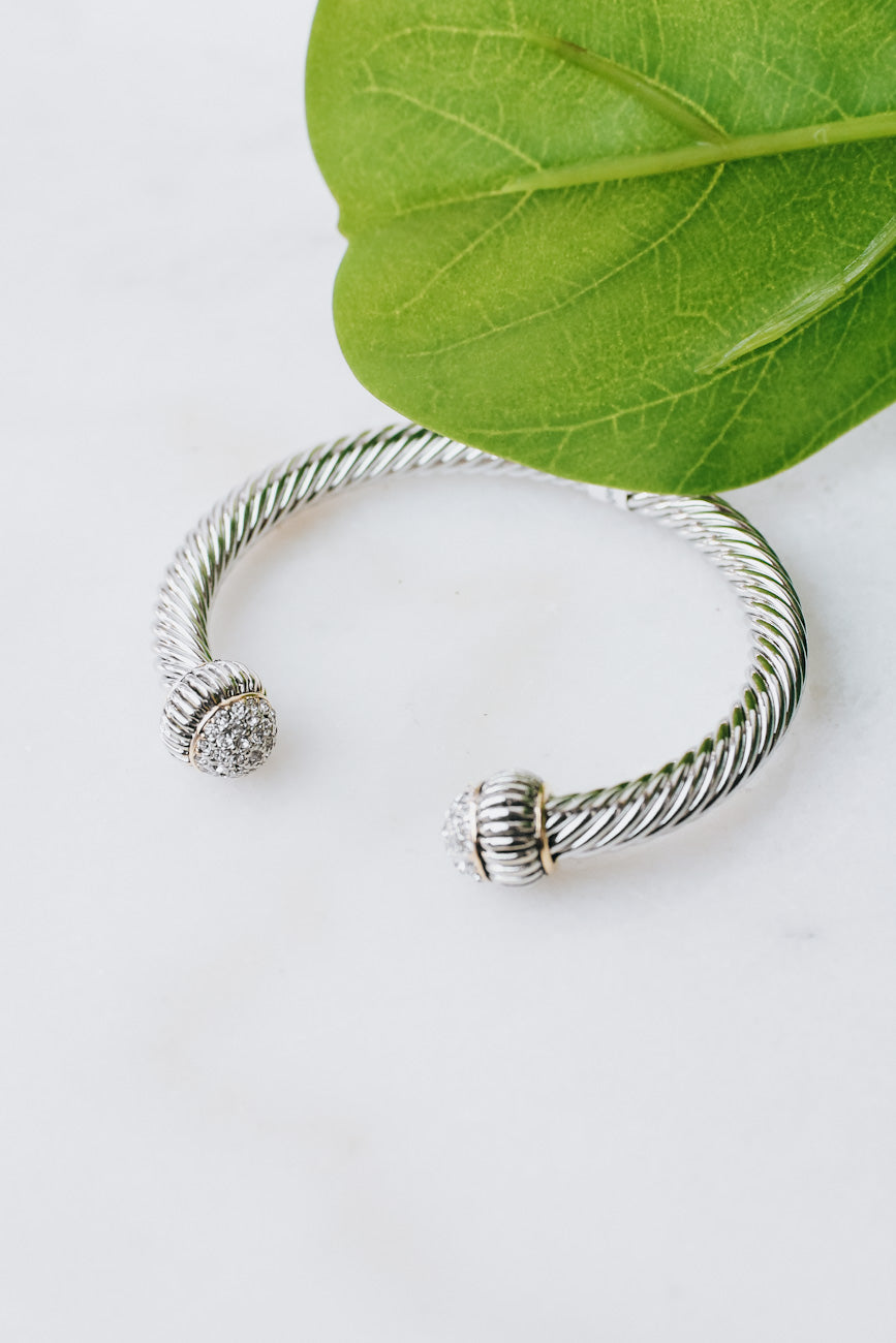 All Stone End Thick Twist Bangle