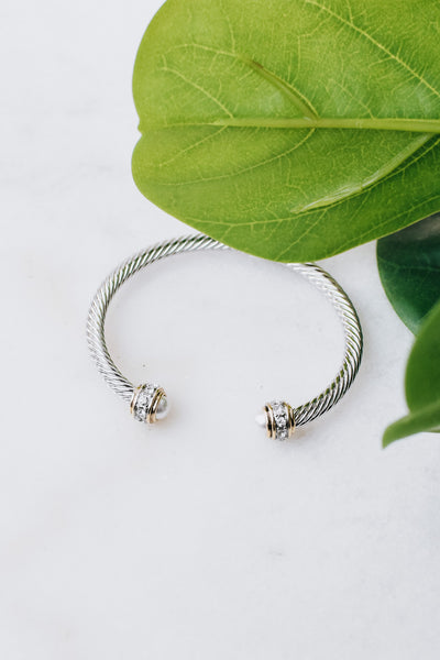 Rhinestone Ring Crystal End Bangle