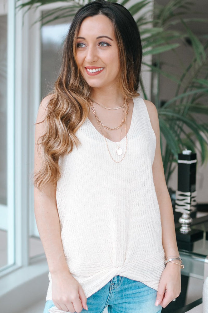 Knot Front Sleeveless Knit Top-Glitz & Ears Boutique