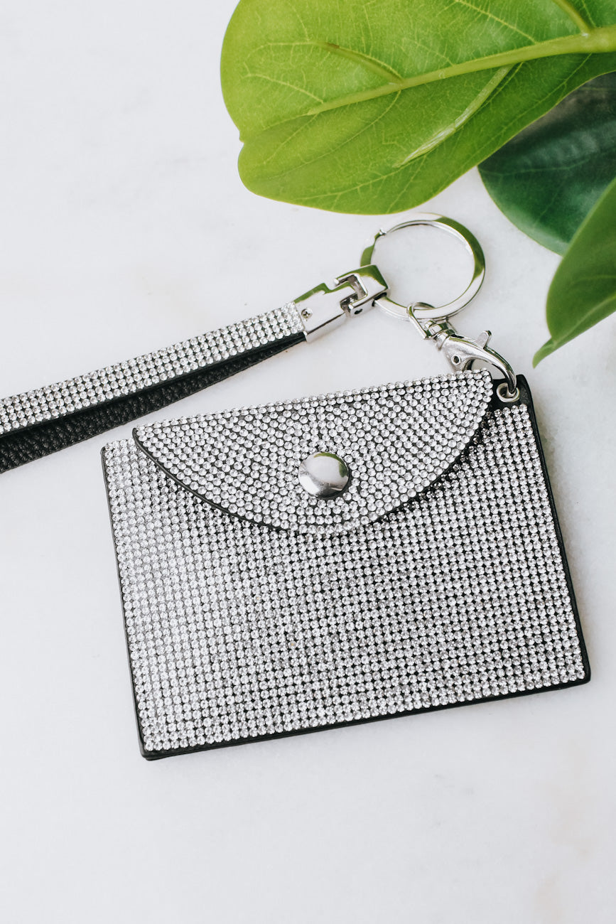 All Rhinestone ID Holder & Key Ring
