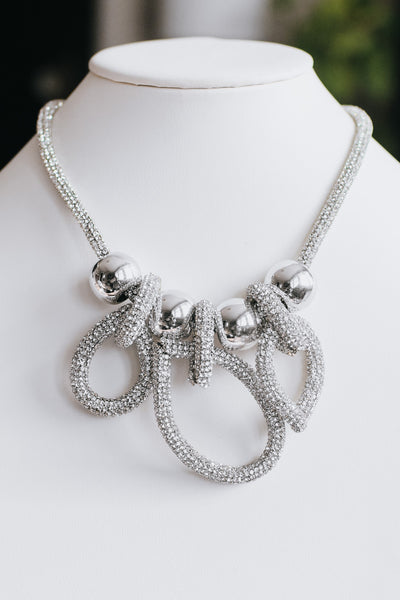 All Rhinestone Loops & Metal Ball Necklace