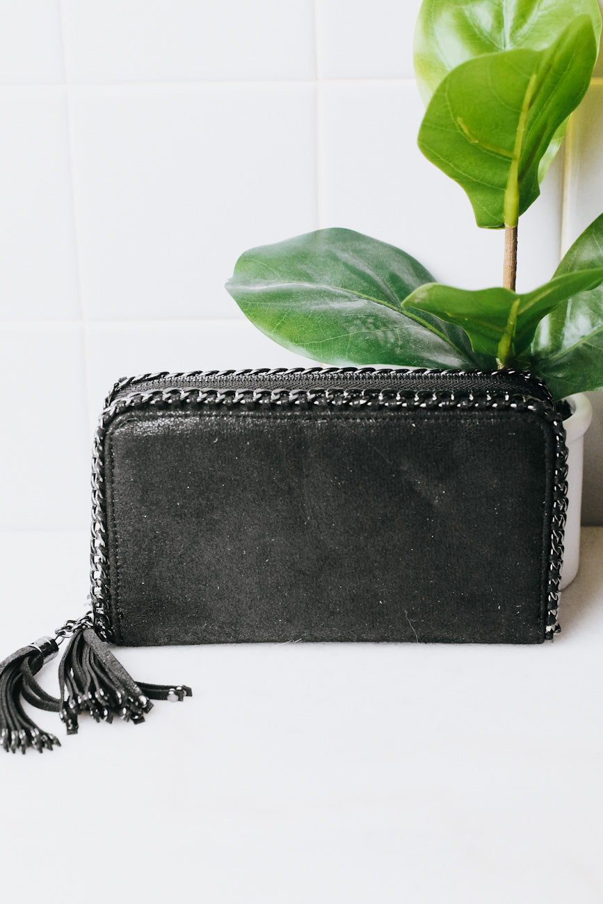 Thick Double Zipper Chain Trim Wallet