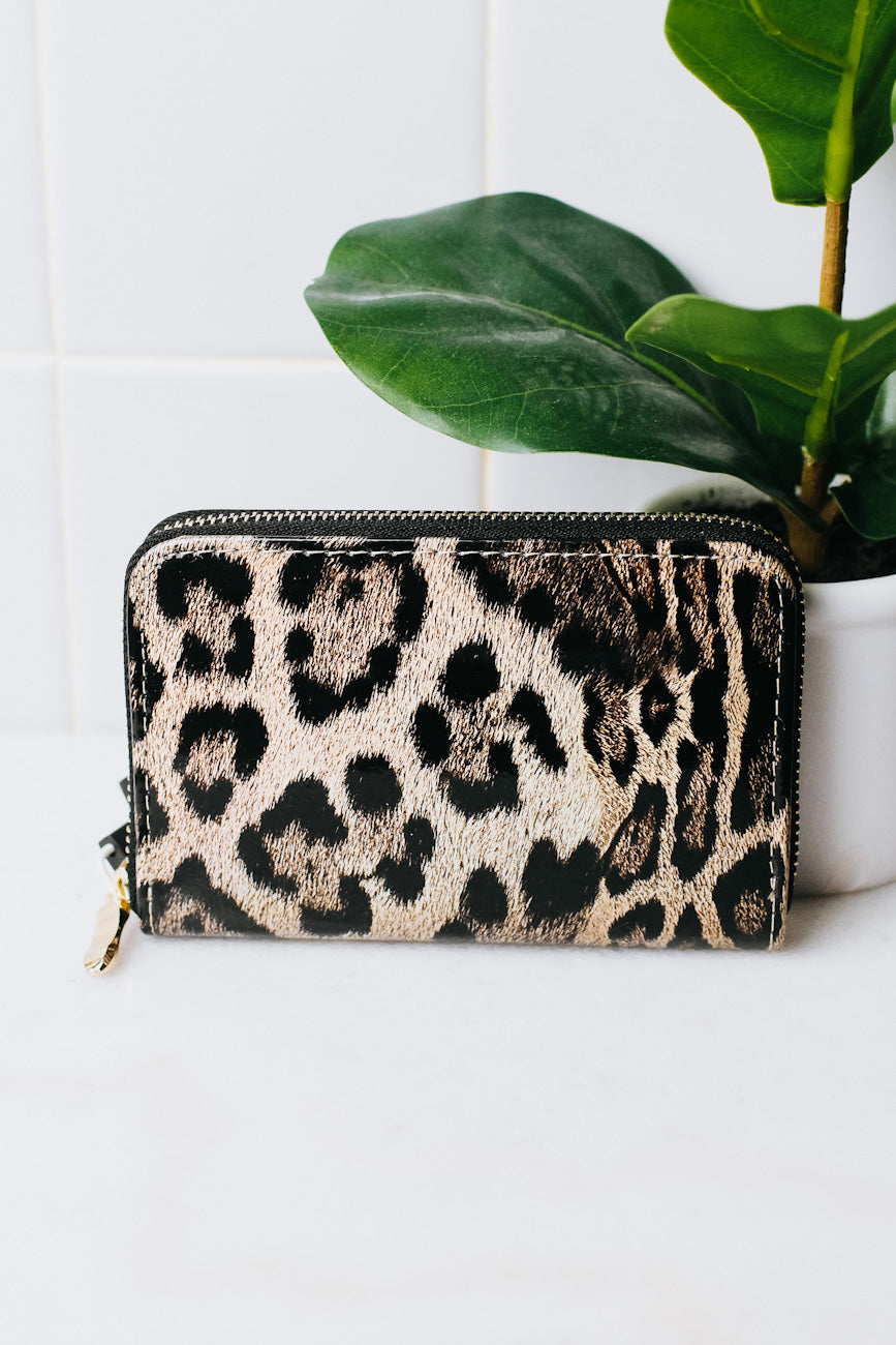Small Patent Zip Around Leopard Wallet