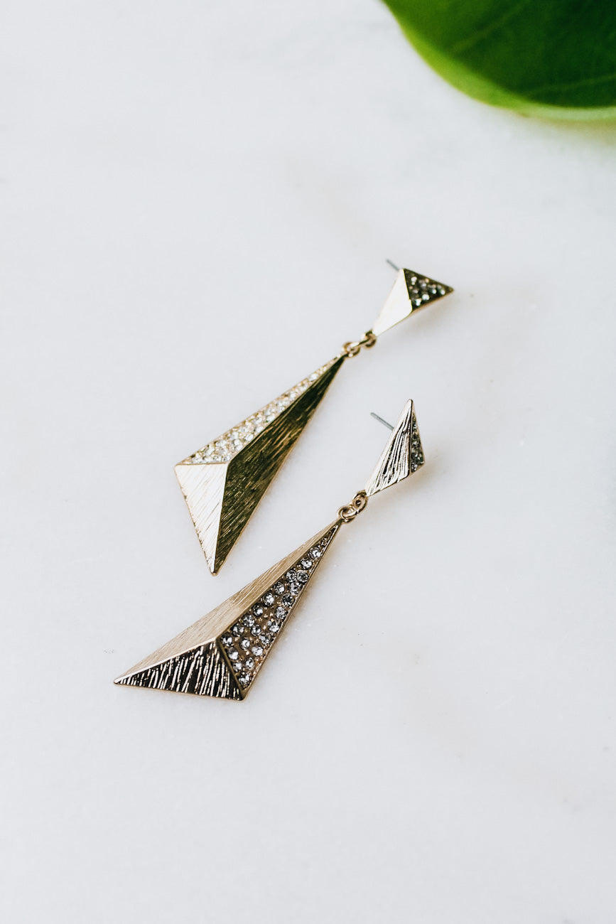 3D Triangle Rhinestone Side Earring