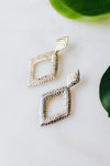 Stamped Open Diamond & Stone Row Earring