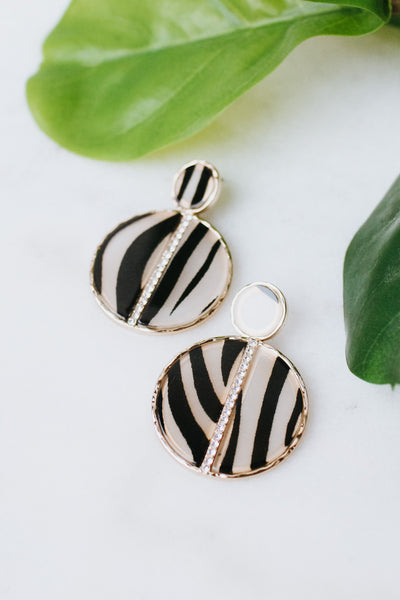 Printed Circle Rhinestone Vertical Row Earring